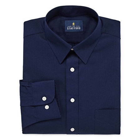 Stafford Mens Wrinkle Free Stain Resistant Stretch Super Shirt Big and Tall Dress Shirt, 17.5 38-39, Blue