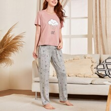 Cartoon And Letter Graphic Pajama Set