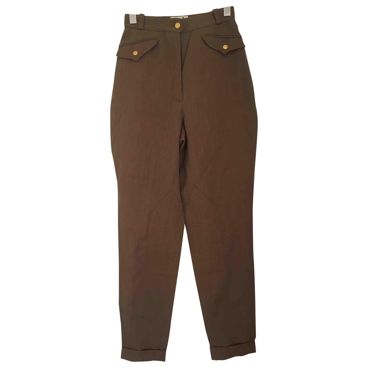 Hermès \N Brown Wool Trousers for Women 38 FR