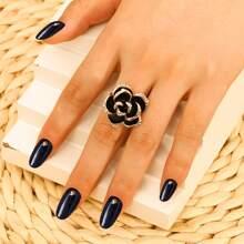 Rhinestone Decor Flower Design Ring