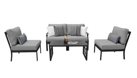MADISON-05d-GREY Kathy Ireland Homes and Gardens Madison Ave. 5 Piece Aluminum Patio Set 05d with 1 Set of Snow and 1 Set of Slate