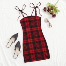 Knot Shoulder Plaid Bodycon Dress
