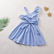 Toddler Girls Asymmetrical Neck Stripe Print Belted Dress