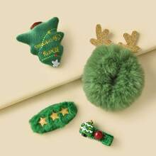 4 piezas horquilla y goma de pelo con diseño de arbol de Navidad