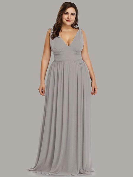 Milanoo Plus Size Bridesmaid Dresses A Line V Neck Floor Length Zipper Matte Satin Formal Gowns
