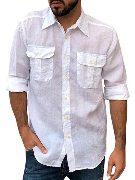 Yoins Men Casual Plain Classic Collar Shirts