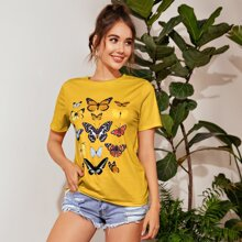Butterfly Graphic Longline Tee