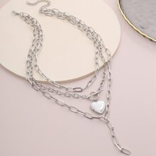 Guys Layered Heart Decor Necklace