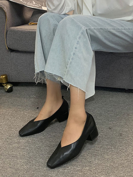 Milanoo Mid-Low Heels For Woman Chic Square Toe Chunky Heel Apricot Pretty Pumps Heels