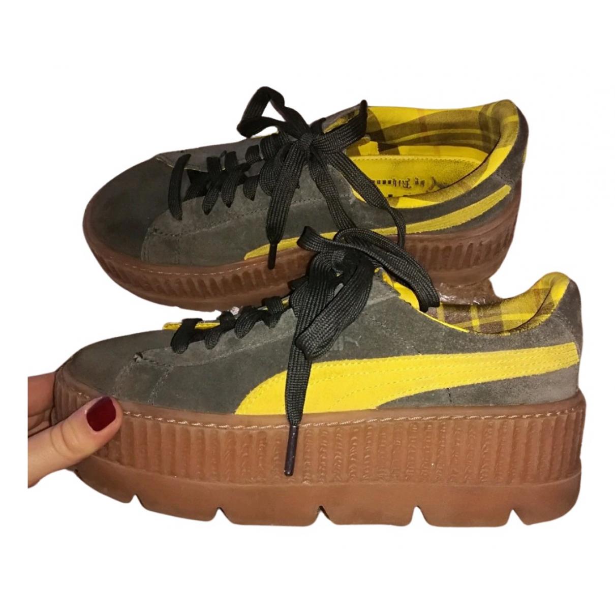 Fenty X Puma \N Sneakers in  Khaki Leder