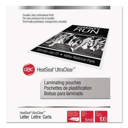 Swingline@ GBC@ UltraClear Thermal Laminating Pouches - 9 x 11-1/2