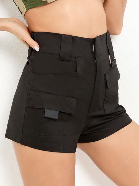 Milanoo Pantalones cortos de carga para mujeres 2020 Bolsillos Pantalones cortos de algodon de cintura alta