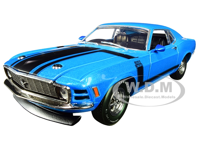 1970 Ford Mustang BOSS 302 Medium Blue Metallic with Black Stripe Limited Edition to 5880 pieces Worldwide 1/24 Diecast Model Car by M2 Machines