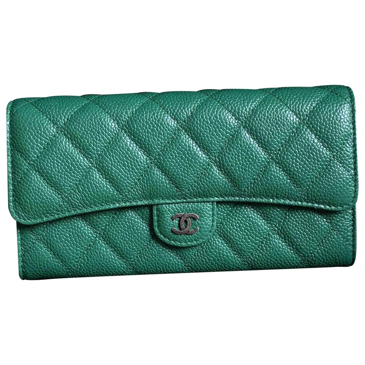 Chanel - Portefeuille Timeless/Classique pour femme en cuir - vert
