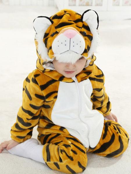 Milanoo Kigurumi Pajamas Tiger Onesie Flannel kids Winter Sleepwear Mascot Animal Costume Halloween