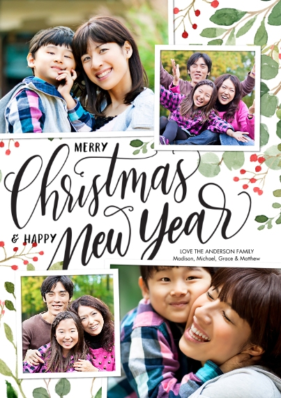 Christmas Photo Cards 5x7 Cards, Premium Cardstock 120lb with Scalloped Corners, Card & Stationery -Christmas New Year Foliage by Tumbalina