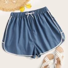 Shorts denim de cintura con cordon unido en contraste - grande
