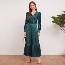 Jacquard Kleid mit Rueschen, Leopard Muster und Guertel