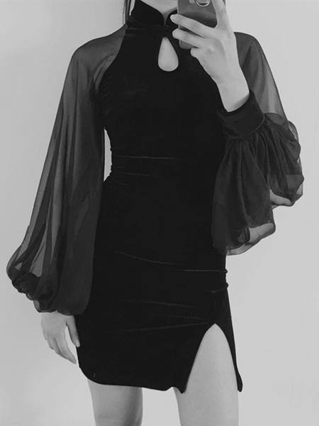 Milanoo Gothic Lolita Dress Qipao Sheer Puff Sleeve Slit Velour Chinese Style Lolita Dress