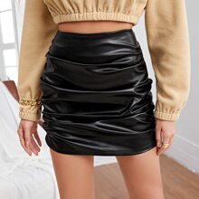 Zip Back Ruched Leather Look Skirt