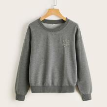 Planet Print Drop Shoulder Sweatshirt