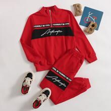 Boys Slogan Graphic Zipper Half Placket Pullover & Sweatpants Set