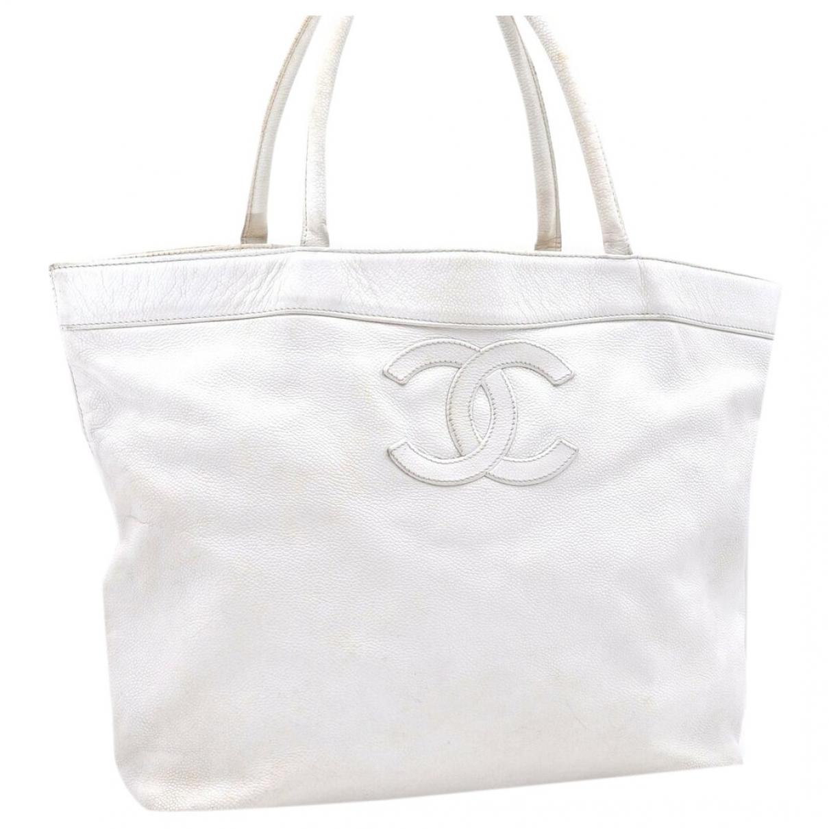 Chanel - Sac a main   pour femme en cuir - blanc