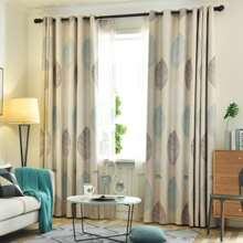 1pc Leaf Print Curtain