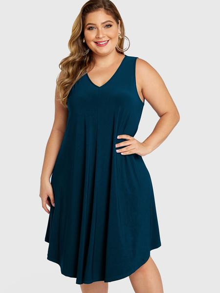 YOINS Plus Size Lake Blue V-neck Sleeveless Dress