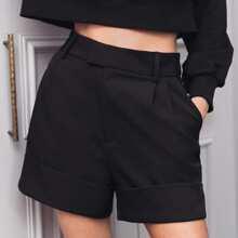Fold Pleated Slant Pocket Cuffed Shorts