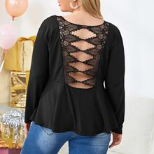 Plus Contrast Lace Backless Peplum Top