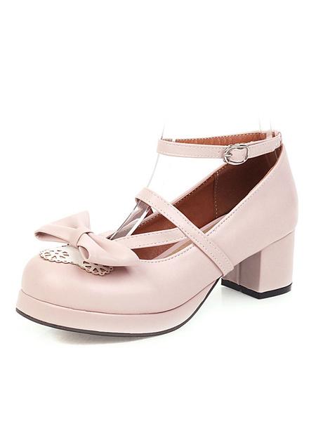 Milanoo Sweet Lolita Footwear Pink Bow Bows Round Toe PU Leather Lolita Pumps