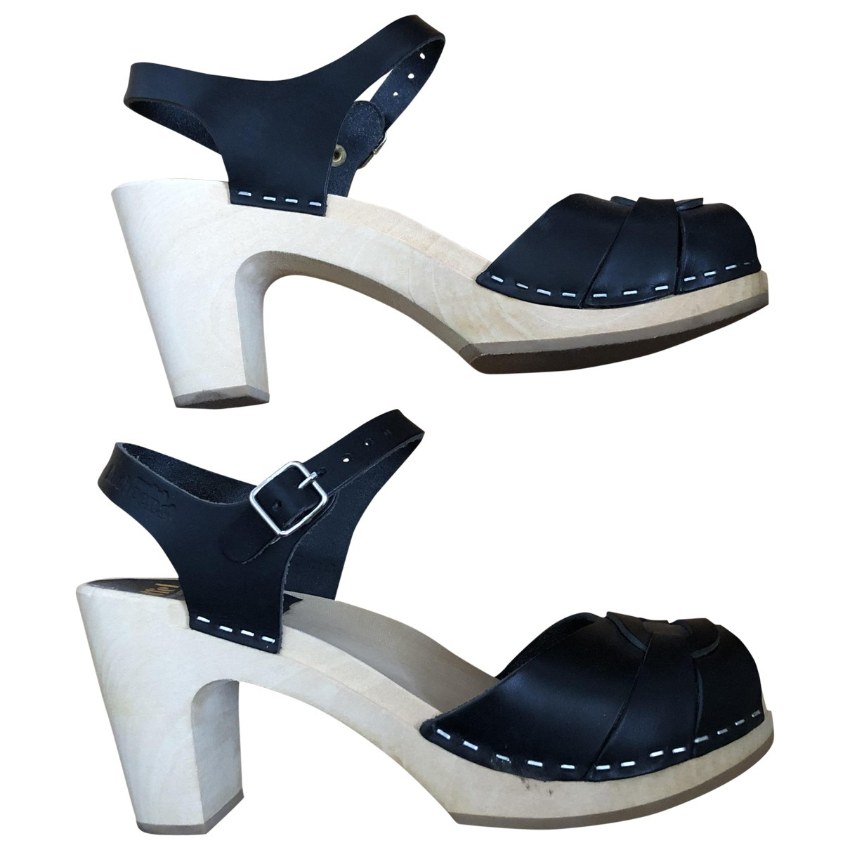 Swedish Hasbeens \N Black Leather Mules & Clogs for Women 38 EU