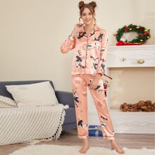 Cartoon Graphic Piping Trim Satin PJ Set