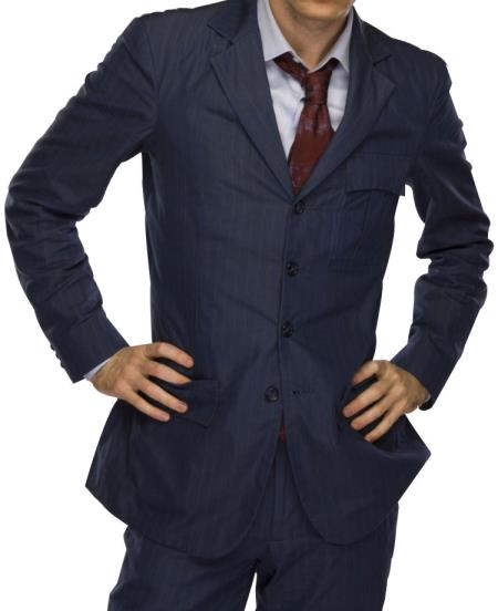 Men's Fully Lined 4 Button Single Breasted Blue Notch Lapel Suit