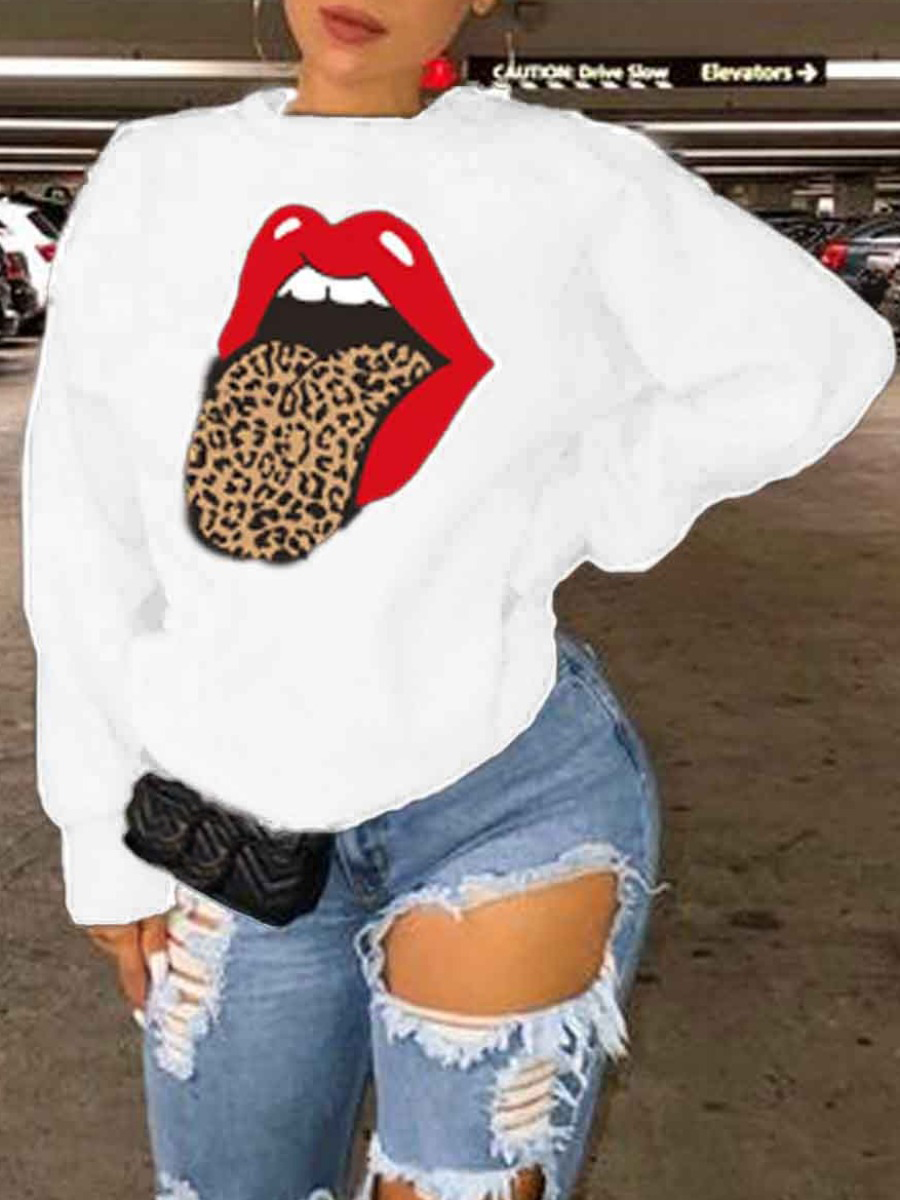 LW lovely Casual O Neck Lip Print White Plus Size Hoodie