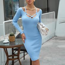 Crisscross Neckline Rib-knit Sweater Dress