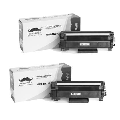 Compatible Brother TN770 Black Toner Cartridge Extra High Yield - With Chip - Moustache@ - 2/Pack