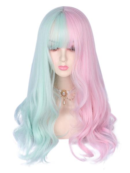 Milanoo Sweet Lolita Wig Fibre Magenta Pink Color Block Lolita Accesorios