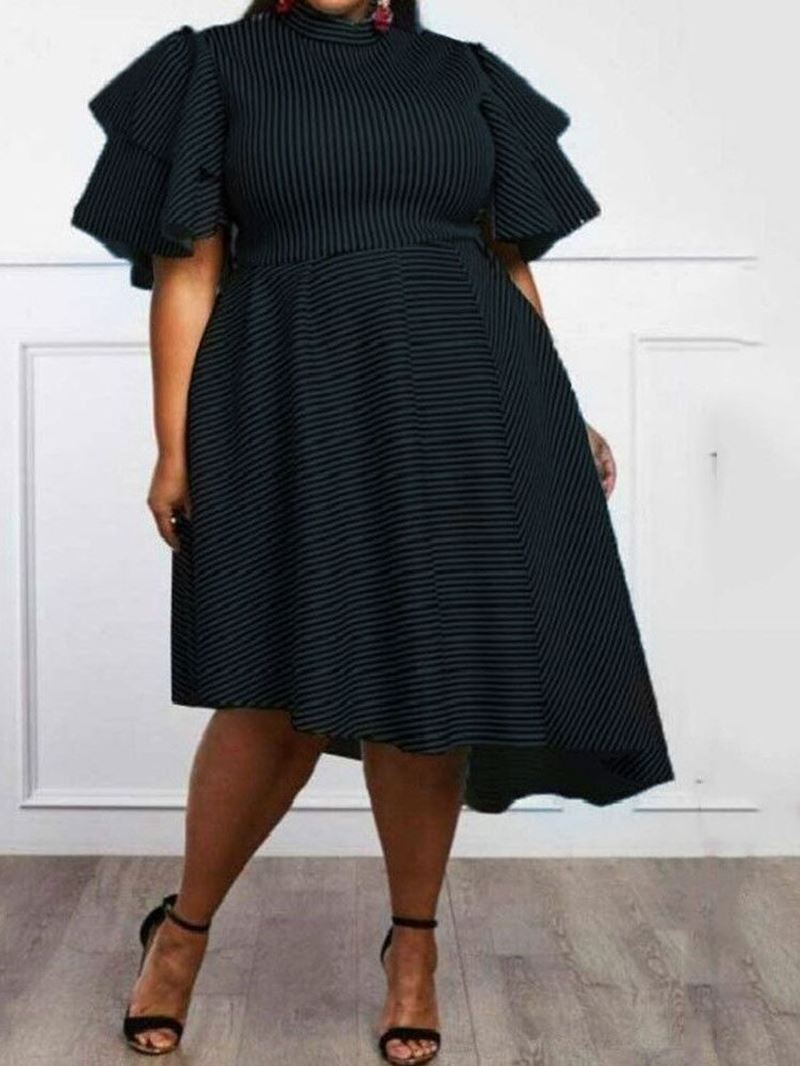 Ericdress Plus Size Asymmetric,Ruffles Striped Ruffle Sleeve Dress