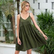 Ruffle Hem Backless Cami Dress