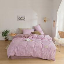 Gingham Pattern Bedding Set Without Filler