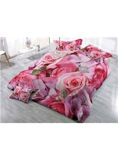 Pink Blooming Roses Wear-resistant Breathable High Quality 60s Cotton 4-Piece 3D Bedding Sets
