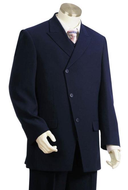 Mens Peak Lapel Flap Pocket Single Breasted Navy Blue Zoot Suit