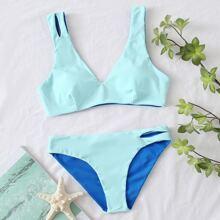 Color Block Cut-out Bikini Swimsuit