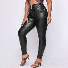 Plus Wide Waistband PU Leather Pants