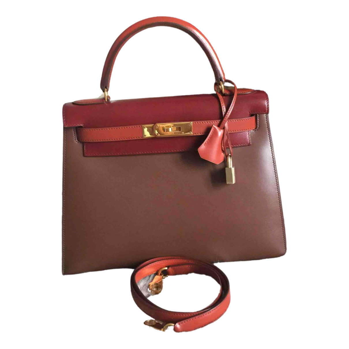 Hermès Kelly 28 Burgundy Leather handbag for Women \N