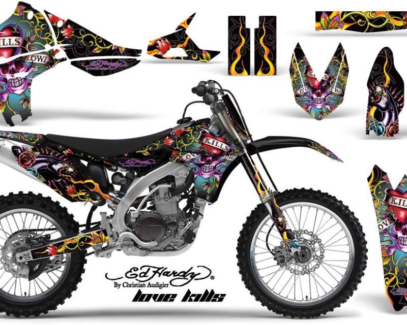 AMR Racing Graphics MX-NP-YAM-YZ450F-10-13-EDHLK K Kit Decal Sticker Wrap + # Plates For Yamaha YZ450F 2010-2013áEDHLK BLACK