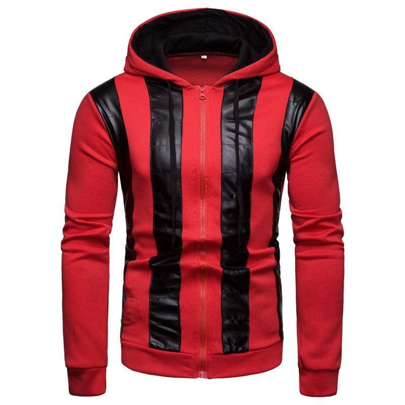 Men Color Block Zipper Patchwork Hooded Sweatshirt