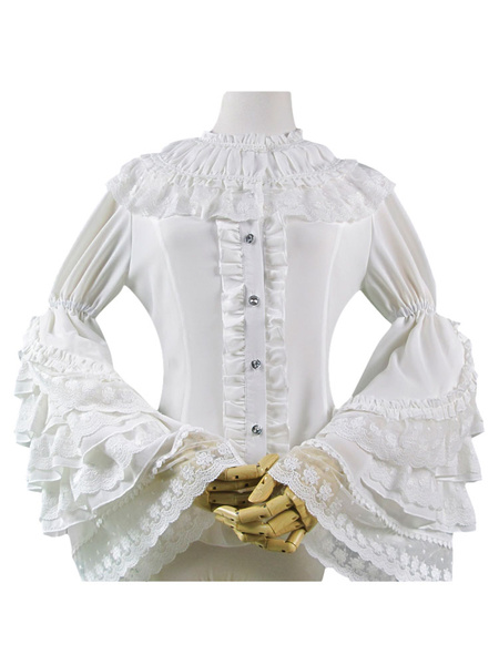 Milanoo Sweet Lolita Shirt Lace Trim Layered Ruffle Hime Sleeve Chiffon White Lolita Shirt